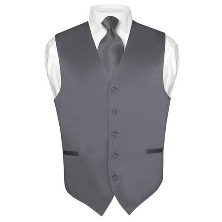 Men's Dress Vest & NeckTie Solid CHARCOAL GREY Color Neck Tie Set for Suit