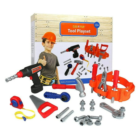 Click n' Play 23 piece Kids Pretend Play Real Working Toy Tool Set Includes Powered Drill, Hammer, Saw, Tape Measure, Tool Belt and other Construction Accessories - Great Christmas Gift for (Play Hamper)