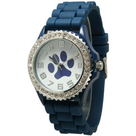 Women's Rhinestone Silicone Paw Watch
