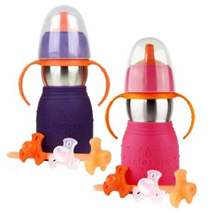 The Safe Sippy 2 2-in-1 Sippy to Straw Bottle, 2 Pack, Purple/Pink