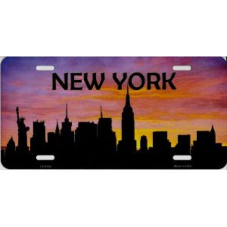 New York Islanders License Plate (New York Skyline Silhouette Metal License)