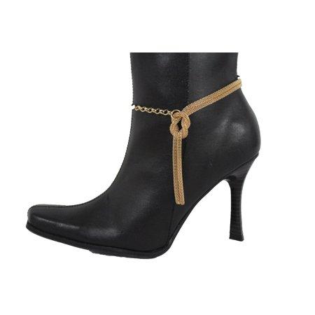 Hot Women Gold Mesh Metal Chain Boot Bracelet Shoe Anklet Infinity Braided Charm ()