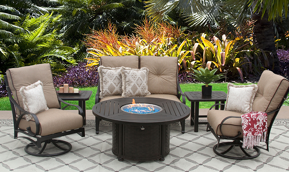 "Newport Aluminum Outdoor Patio 6pc 50"" Round Firepit by"