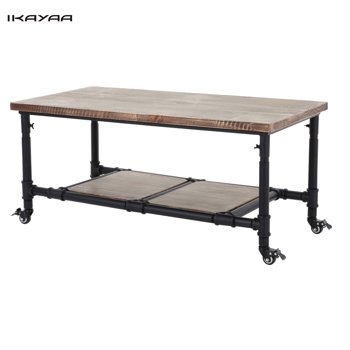 iKayaa Rustic Pinewood Coffee Tea Table With Storage Steel Frame