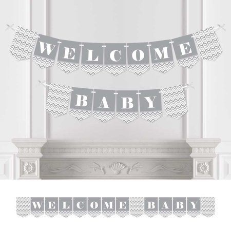 Chevron Gray - Baby Shower Bunting Banner - Gray Party Decorations - Welcome Baby