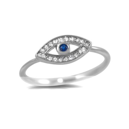 Pascollato Jewelry 925 Sterling Silver Blue Stone Evil Eye Cz Delicate Ward Ring Fashion Trendy