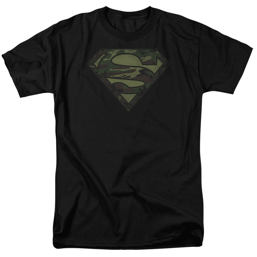 Superman/Camo Logo Distressed S/S Adult 18/1   Black     Sm1601