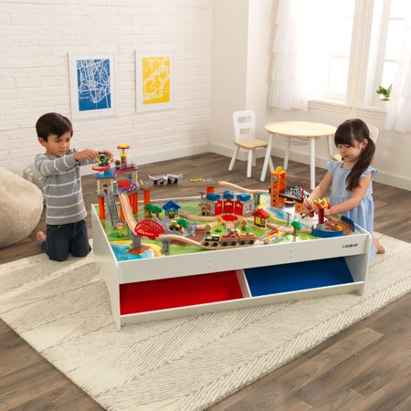 KidKraft Railway Express Wooden Train Set & Table with 79 Pieces and Two Storage Bins