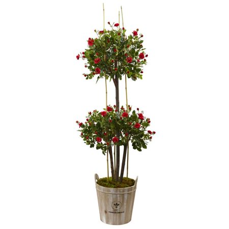 5.5 ft. Rose Topiary Tree with Farmhouse Planter
