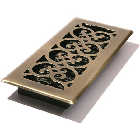 "Decor Grates® 4"" x 10"" Scroll™ Steel Plated Antique Floor Register"