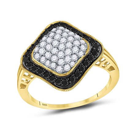 10kt Yellow Gold Womens Round Black Color Enhanced Diamond Cluster Ring 1.00 Cttw - image 1 of 1