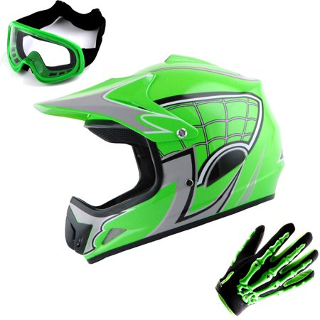 WOW Youth Kids Motocross BMX MX ATV Dirt Bike Helmet HJOY Spider Web Green + Goggles + Skeleton Green Glove Bundle