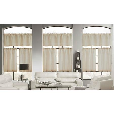 - Wheat Color 3 Piece Window Curtain Set: Linen Blend, Burlap Look, 1 Valance, 2 Tiers