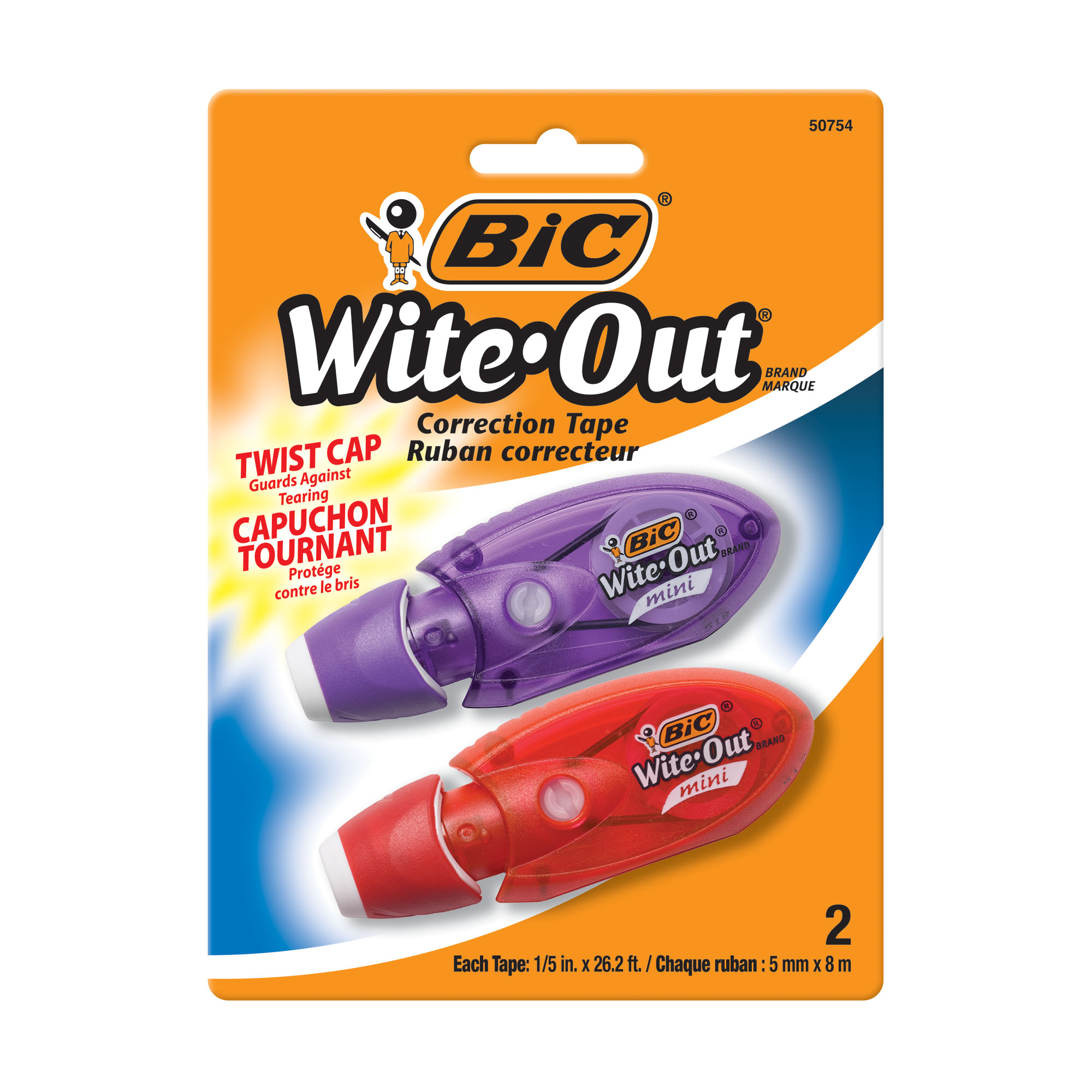 BIC Wite-Out Brand Mini Twist Correction Tape, White, 2 Count