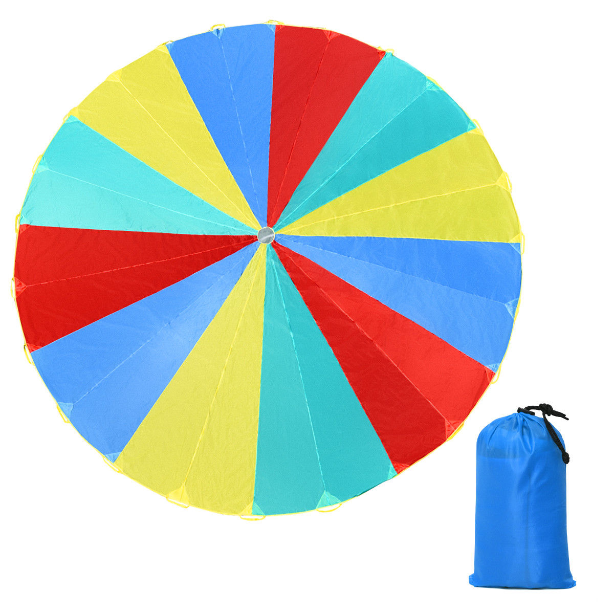 GHP 20Ft Red/Yellow/Blue/Green 190T Polyester Fabric 24-Handle Foldable Parachute w Bag