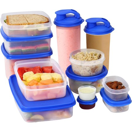 I-FRESH Meal Prep Lunch Box Food Containers with Leak-Proof Lids - Bonus 2 Exclusive Sipping Cups - Reusable, Dishwasher, Microwave, Freezer Safe, BPA-Free (13 Piece