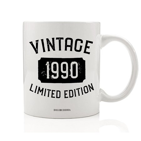 1990 Coffee Mug Born In the Birth Year Vintage Limited Edition Birthday Gift Idea Great Present for Male Female Family Friend Coworker Fiancé Fiancée 11oz Ceramic Beverage Tea Cup Digibuddha