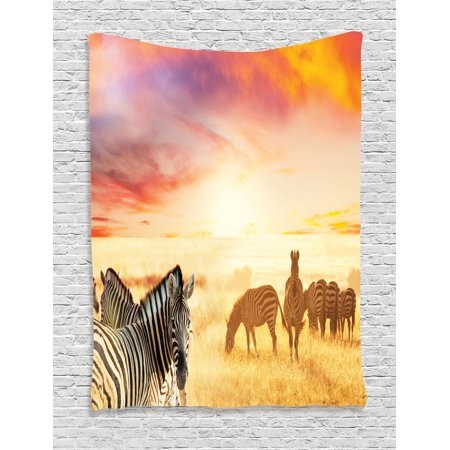 Safari Decor Wall Hanging Tapestry, African Zebras At Fairy Sunset On The Grassland Wildlife Adventure Theme In The Nature, Bedroom Living Room Dorm Accessories, By Ambesonne](Safari Decor)