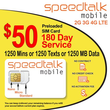 $50 Rollover Prepaid GSM SIM Card 1250 Minutes Talk Text Data 180-Day (Best Prepaid Service In Canada)