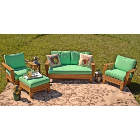 5pc Jimmy Buffet Margaritaville Patio Furniture Conversation Set With Reversible Cushions Green