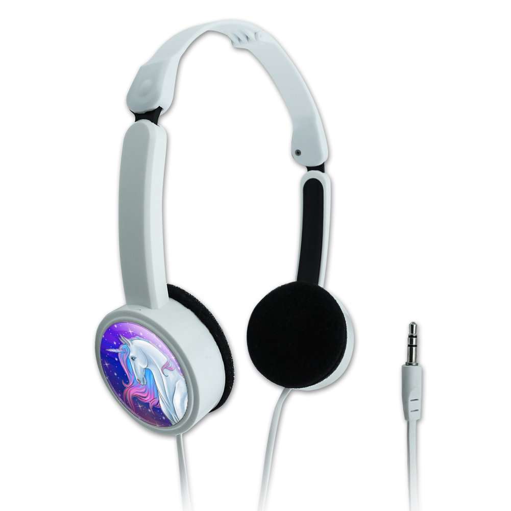 Majestic Unicorn Pink Purple Blue Novelty Travel Portable On-Ear Foldable Headphones