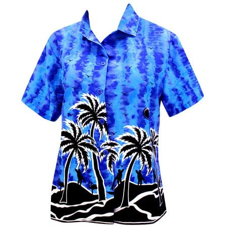 16445ff39c862 Hawaiian Shirt Blouses Relaxed Fit Button Down Women Short Sleeves Camp  Blue - Walmart.com