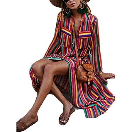 LELINTA Womens Fashion Half Sleeve Rainbow Stripes Dress Casual Loose Fit Shirt Long Dress Plus Size S-3XL](Dress Stripes)
