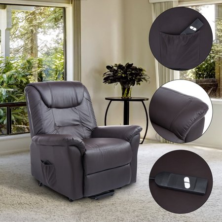Leather 3 Position Lift Chair - Luxury Faux Leather Three Position Lift Chair Recliner With Remote - Dark Brown