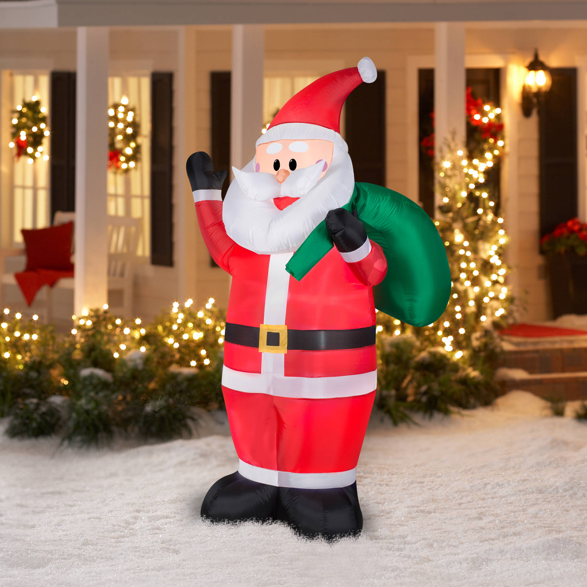 gemmy airblown christmas inflatables 7 waving santa walmartcom - Walmart Outdoor Christmas Decorations