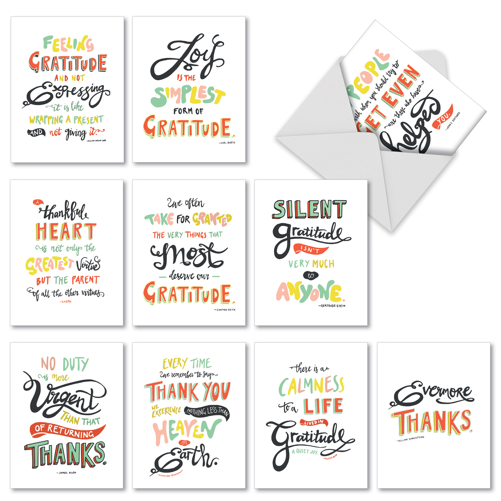 M10019BK Words Of Appreciation: 10 Assorted Blank Thank You Note Cards Featuring Artfully Rendered Words Of Appreciation And Thanks, Stationery with Envelopes