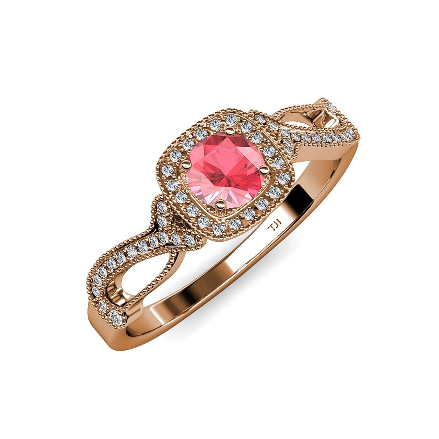 Pink Tourmaline and Diamond Swirl Halo Engagement Ring Milgrain Work 1.25 ct tw in 14K Rose Gold.size 4.5 by TriJewels
