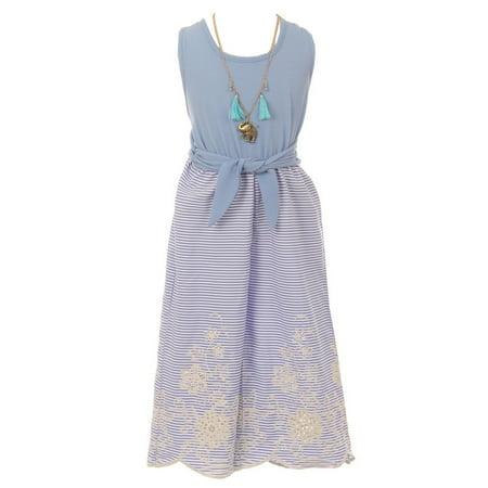 Capri Jumpsuit - Just Kids Girls Blue Knot Accented Necklace Stripe Capri Jumpsuit