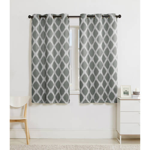 VCNY Home Geometric Tribeca Blackout Grommet Top Window Curtain Panel - Set of Two, Multiple Sizes and Colors Available