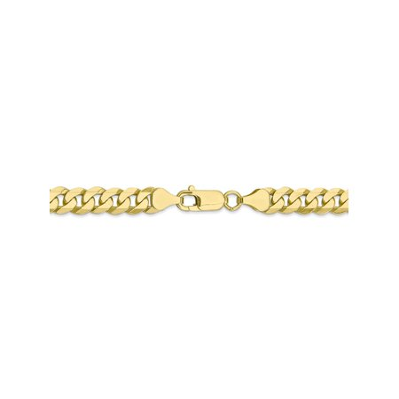 7.25 mm 10k Yellow Gold Flat Beveled Curb Chain Bracelet - 8 Inch (Rounded Curb Chain Bracelet)