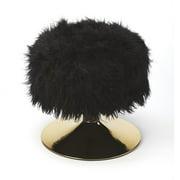 Nona Black Faux Fur Stool