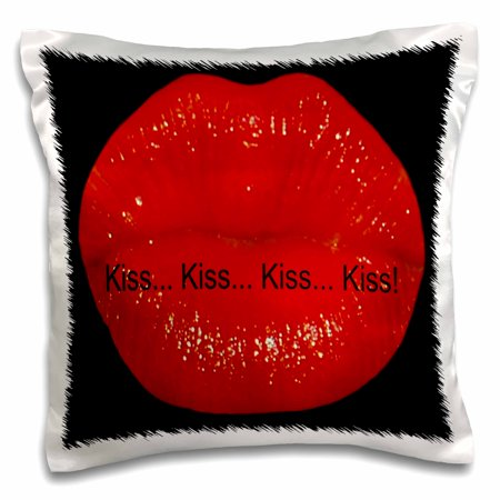 3dRose Red Kissing Lips Black Background Kiss Kiss Kiss ...