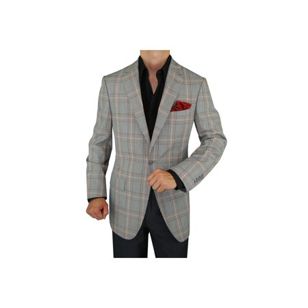 Medium Grey Wool Suit - DTI GV Executive Men's Italian Wool Suit Jacket One Button Modern Fit Blazer Gray