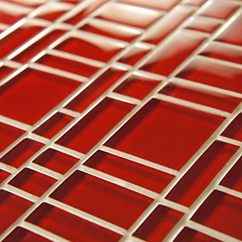 EliteTile Sierra 11-3/4'' x 11-3/4'' Polished Glass Mosaic in Magic Carnelian