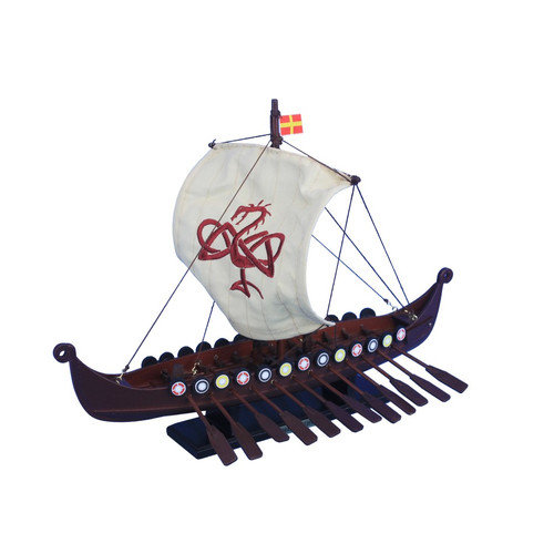 Handcrafted Nautical Decor Wooden Viking Drakkar Model Boat