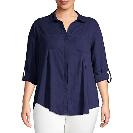 Plus Cotton Button-Down Shirt Button Down Shirt With Suit