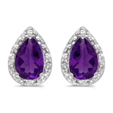10k White Gold Pear Amethyst And Diamond Earrings Amethyst Diamond Pendant Earrings
