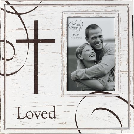 Precious Moments Loved With Cross Rustic Farmhouse Distressed 4x6 Wood And Metal Photo Frame 173425 Cross Back Metal Frame