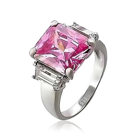 - .925 Silver Rose Pink Emerald Cut CZ 3 Stone Engagement Ring