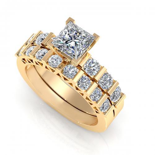 1.65CT princess and round cut diamonds bridal set by PrimeStyle