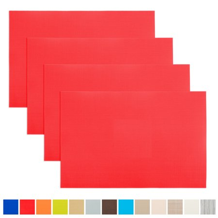 Aspire 4PCS Insulation Placemat, Washable Table Mats-Red - Red Round Placemats