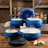 The Pioneer Woman Classic Belly 10 Piece Ceramic Non-stick and Cast Iron Cookware Set, Cobalt