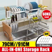 2 Tier Dish Drying Rack Drain Over Sink Set Counter-top Kitchen Storage Bowl Shelf Large Space Dish Rack Cutlery Holder Drying Dryer Drainer Holder - 31.1 / 35.8 inch