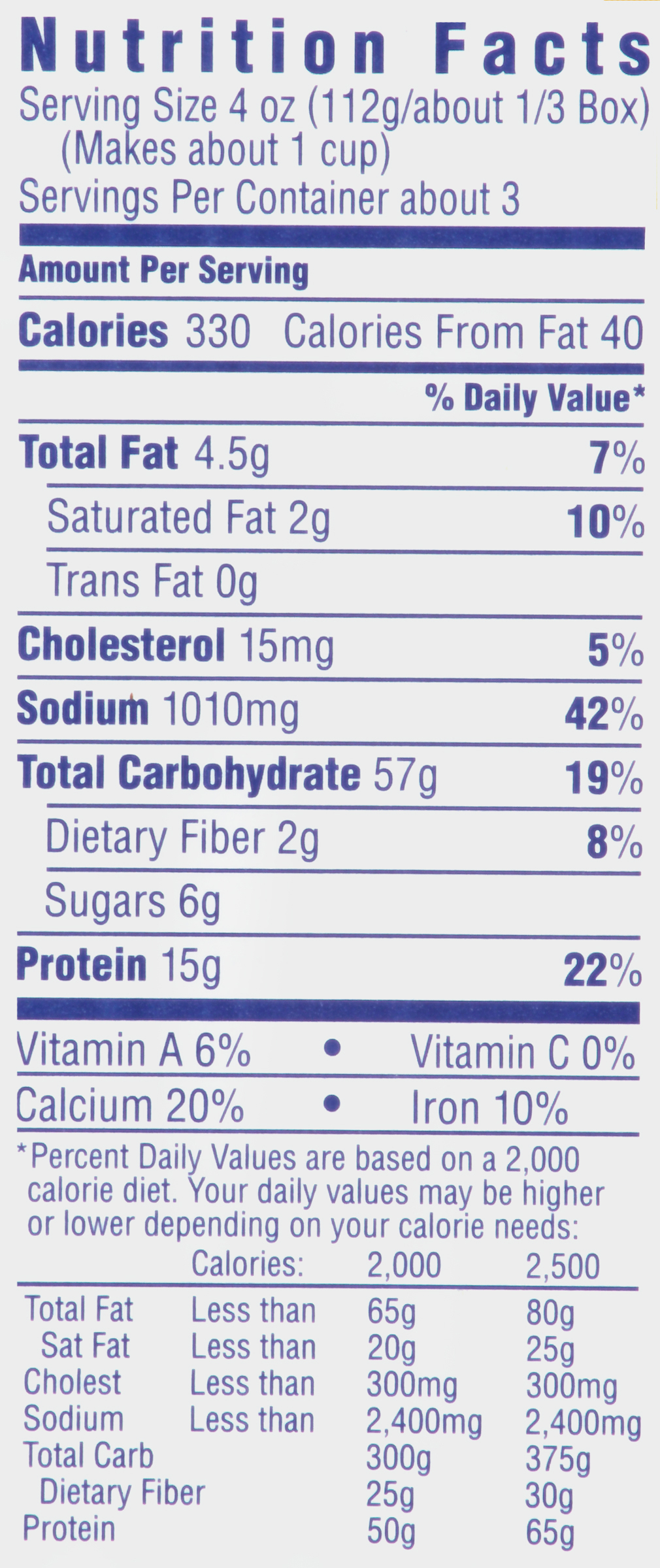 mac and cheese nutrition facts