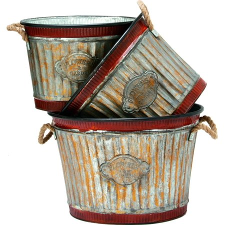 Deer Park Ironworks-Wide Corrugated Oval Tub Planters Set- Natural Patina 3pc Deer Park Deer Planter