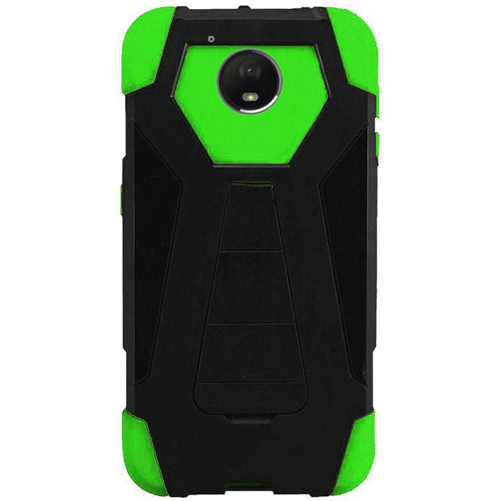 For Motorola Moto E4 Plus 4G 2017 Hybrid T Kickstand Case - Black+Neon Green